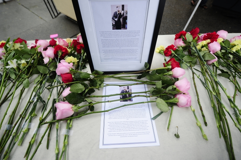 <p>A memorial to Tyler Clementi at Rutgers University in New Brunswick, N.J., on Oct. 1, 2010.</p>