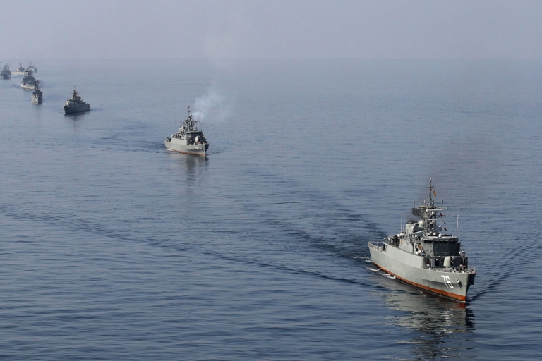 <p>Iranian Navy boats in the Strait of Hormuz.</p>