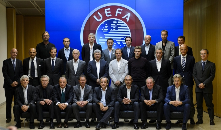 <p>Europe's best coaches pose for a family photo on Sept. 5, 2012, during the Elite Football Club Coaches Forum at the UEFA headquarters in Nyon, Switzerland. At the meeting Arsenal's coach Arsene Wenger repeated his plea for