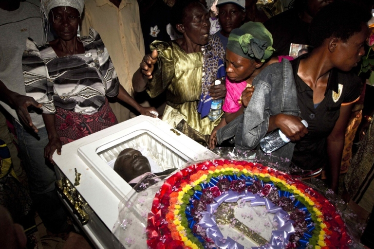 <p>Uganda's parliament shelved its notorious anti-gay bill on May 13, 2011. Here members of the Ugandan gay community attend the funeral of murdered gay activist David Kato on January 28, 2011. Although the police claimed Kato's killing was the result of a petty robbery, many members of the gay and the human rights community charge the murder was a hate crime, a result of the climate of intolerance toward gays that grew because of the anti-homosexuality bill.</p>