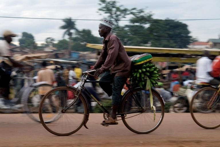 <p>A man transporting bananas by bicycle at Bwaise market in Kampala, Uganda on April 30, 2008.</p>