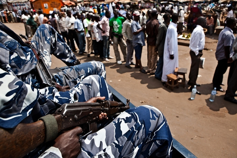 <p>There is high security across Uganda during voting for the presidential eleciton Friday.</p>