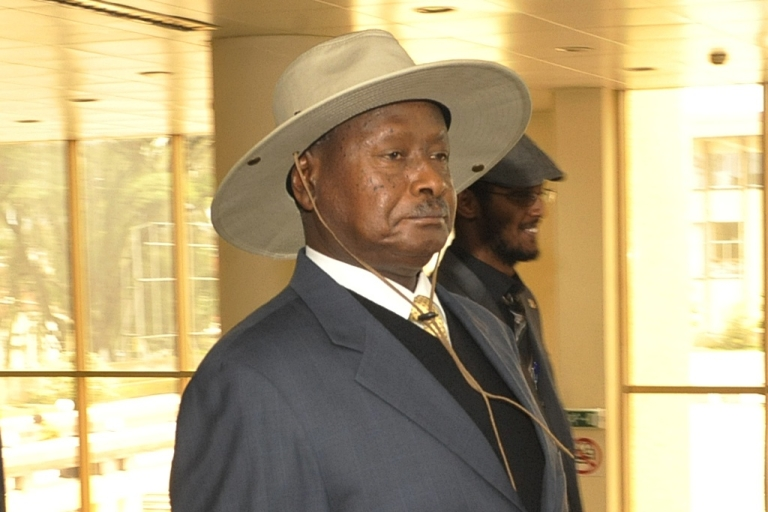 <p>Ugandan president Yoweri Museveni has shown that he is not tolerant of challengers and critics. Here Museveni arrives at the African Union Peace and Security Council meeting on Libya in Addis Ababa, on August 26, 2011.</p>