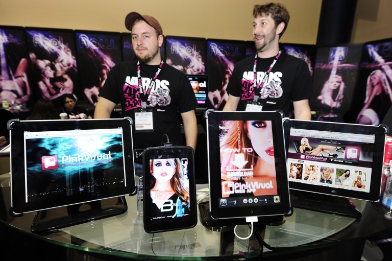 <p>The iPads and one Samsung Galaxy (2L) with pornography applications are on display at the Pink Visual booth at the AVN Adult Entertainment Expo Jan. 9, 2011 in Las Vegas, Nevada. Iceland is considering banning Internet pornography within its borders, which would make it the first Western nation to impose such a restriction.</p>
