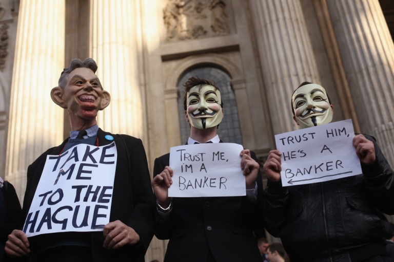 <p>Protestors from the 'Occupy London Stock Exchange' demonstration continue their occupation outside St Pauls Cathedral in London, England.</p>