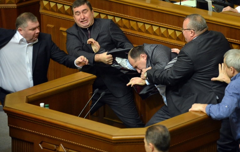 <p>There were chaotic scenes in Ukraine's parliament on its first two days in session, as opposition members fought with the ruling party over who should be the next prime minister and speaker.</p>