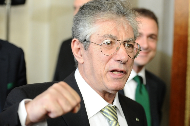 <p>The head of the Northern League party, Umberto Bossi, resigned on April 5, 2012, after his party was engulfed by a financial scandal.</p>