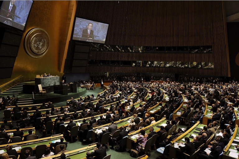 <p>United Nations Secretary General Ban-Ki moon of  Korea addresses the 63rd United Nations General Assembly September 23, 2008 in New York.</p>