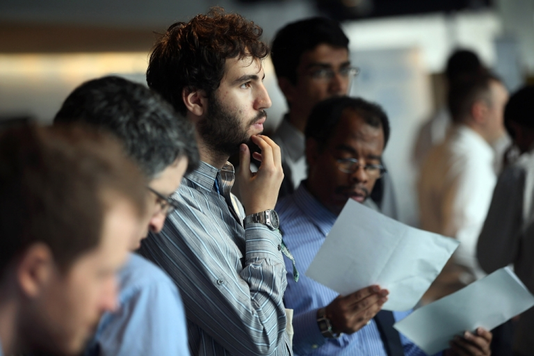 <p>Job applicants wait to meet potential employers at the NYC Startup Job Fair held at 7 World Trade Center on September 28, 2012 in New York City.</p>
