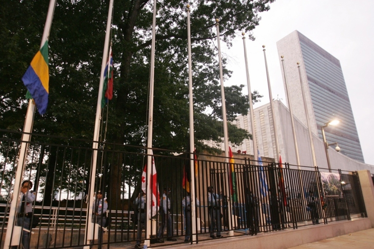 <p>Flags are raised outside the United Nations before the start of the UN General Assembly in New York.</p>