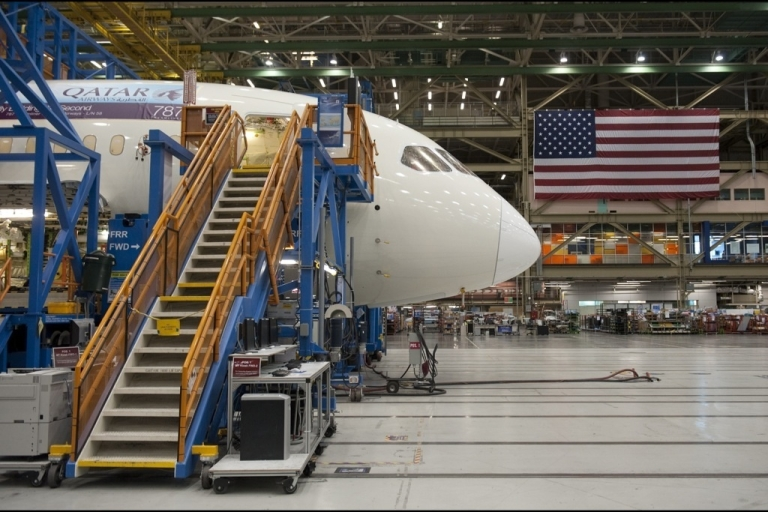 <p>A Boeing 787 Dreamliner aircraft sits under construction at the Boeing production facilities and factory at Paine Field in Everett, Washington where the effects of the euro economic crisis are expected to be felt.</p>