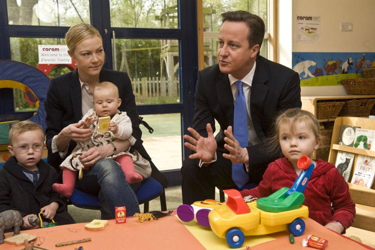 <p>Prime Minister David Cameron talks to parents in London, England.</p>