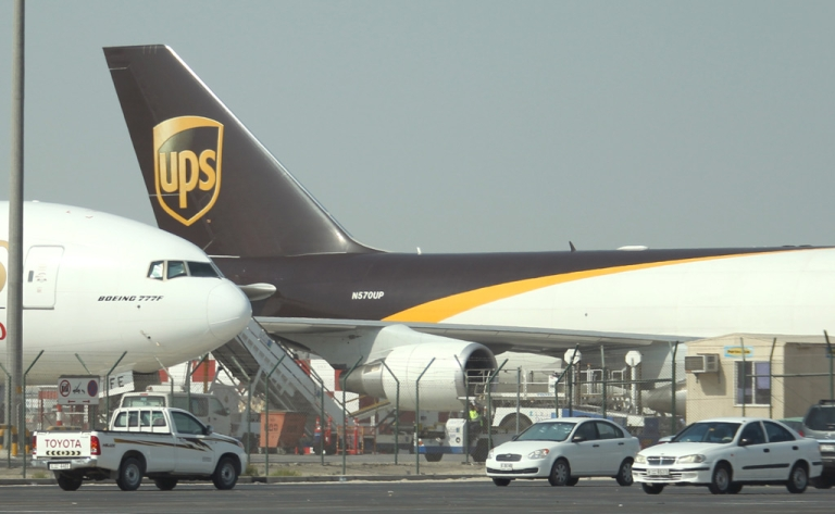 <p>A UPS cargo plane sits on the tarmac of Dubai airport on October 31, 2010.</p>
