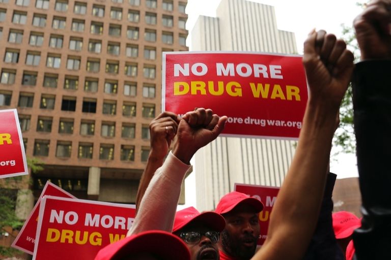<p>Marijuana legalization advocates and members of community groups attend a rally against marijuana arrests in front of One Police Plaza on June 13, 2012 in New York City.</p>