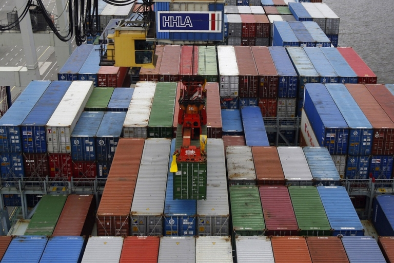 <p>Hurricane Xaver is headed towards Hamburg, Germany. This photo shows stored containers at the HHLA (Hamburger Hafen und Logistik AG) container terminal at the harbor of the northern German city.</p>
