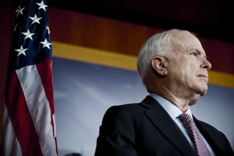 <p>WASHINGTON, DC -  FEBRUARY 2: Senator John McCain (R-AZ) during a news conference on Capitol Hill February 2, 2012 in Washington, DC to discuss legislation to replace defense spending sequestration.(Photo by Pete Marovich/Getty Images)</p>