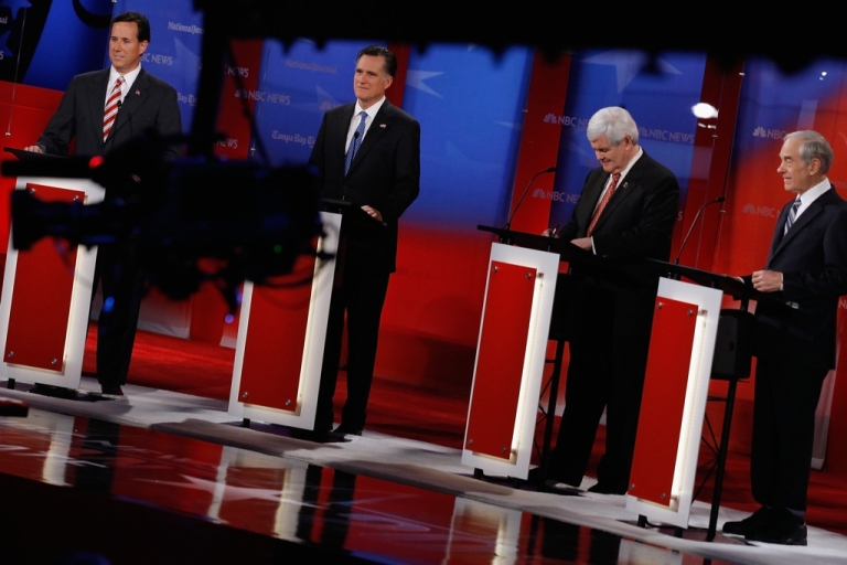 <p>The Republican primaries show a chaotic mix of attitudes toward US foreign policy. Here Republican presidential candidates, former U.S. Sen. Rick Santorum, former Massachusetts Gov. Mitt Romney, former Speaker of the House Newt Gingrich (R-GA) and U.S. Rep. Ron Paul (R-TX) are seen during the NBC News, National Journal, Tampa Bay Times debate held at the University of South Florida on January 23, 2012 in Tampa, Florida.</p>