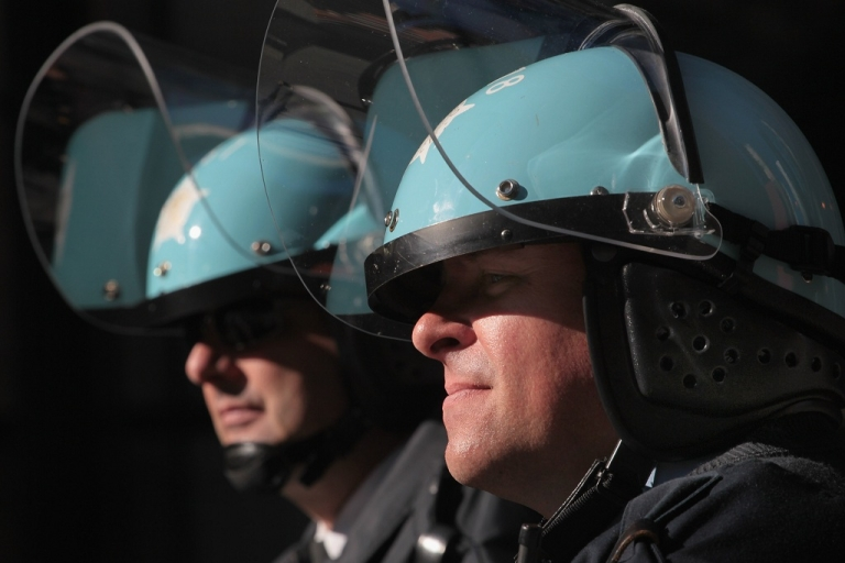 <p>Chicago mounted police officers watch over a protest taking place in the Federal Building Plaza in Chicago, Illinois. Wednesday marked the third straight day of protests as Chicago prepares to host the NATO Summit on Sunday and Monday.</p>