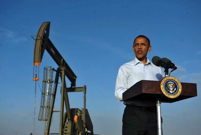 <p>US President Barack Obama speaks at an oil and gas production fields on federal lands March 21, 2012 near Maljamar, NM. Obama spoke on expanding domestic oil and gas production.</p>