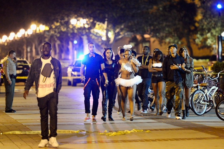 <p>Students and people who attended a party on the campus of USC are allowed to leave after the USC campus was in lockdown after four people were shot including one in critical condition during a Halloween party at the Tutor Campus Center on November 1, 2012 in Los Angeles, California</p>