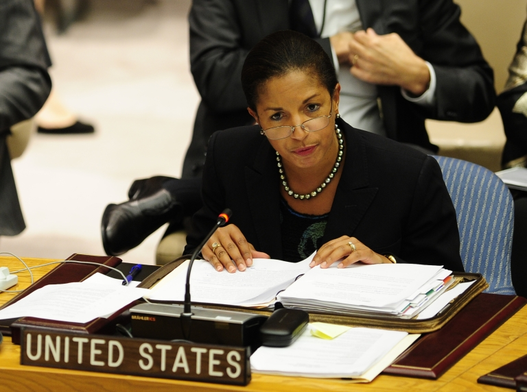 <p>US Ambassador to the UN Susan Rice speaks during a Security Council meeting in September.</p>