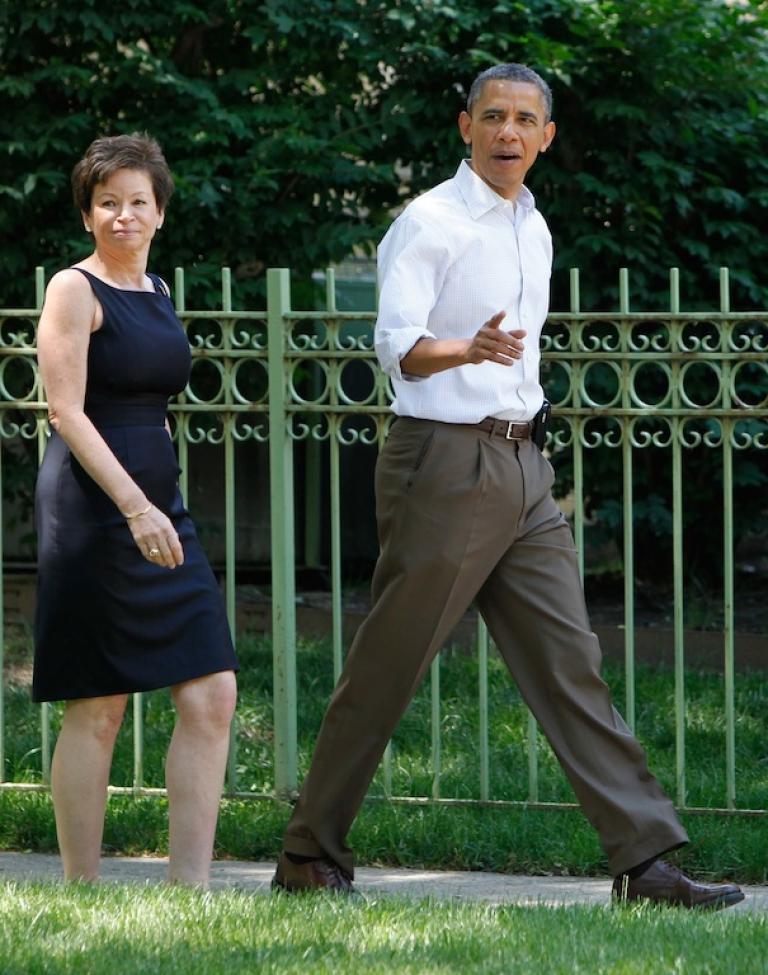 <p>President Barack Obama walks with his senior adviser Valerie Jarrett on June 2, 2012.</p>