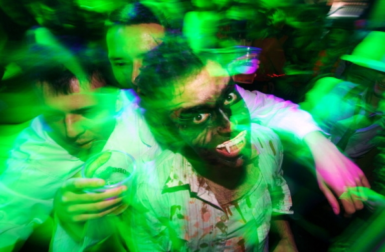 <p>People dressed up as zombies during a Halloween Eve Party in Belgrade on October 30, 2011. Halloween is based on the Celtic festival of Samhain and the ancient Celts believed the border between this world and the otherworld became thin on that night, allowing spirits to pass through.AFP PHOTO / ANDREJ ISAKOVIC</p>