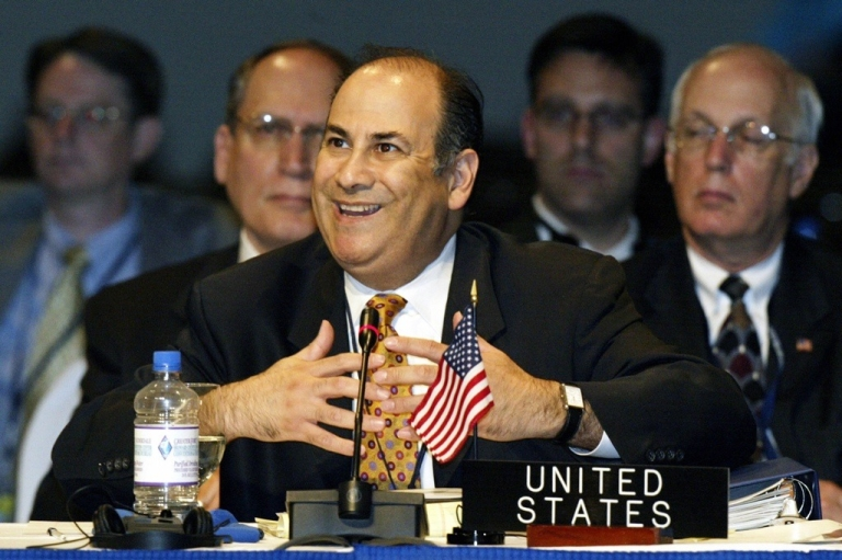 <p>Roger Noriega is pictured in 2005 when he was US Assistant Secretary of State for Western Hemisphere Affairs. These days he is peddling documents he says proves Venezuela and Iran are forming a dangerous partnership.</p>