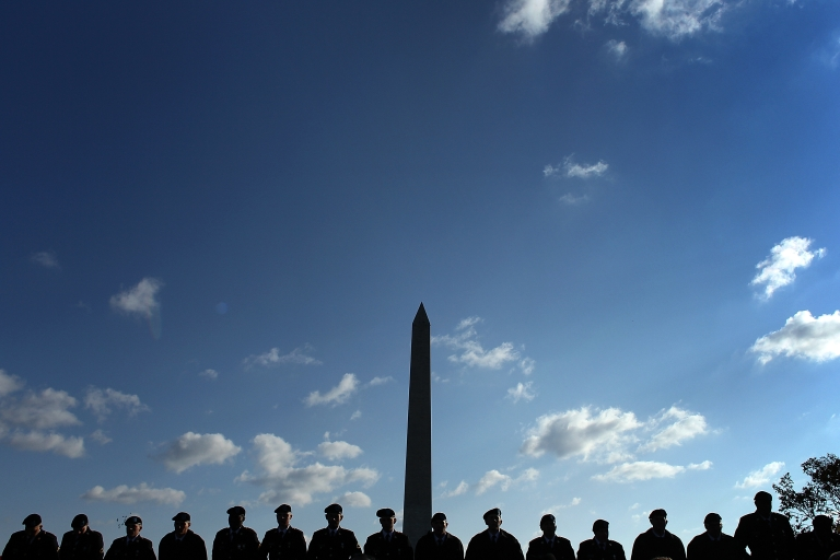 <p>Soldiers from Ft. Lee, Va., help mark Veterans Day ceremonies at the World War II Memorial in Washington, DC, on Nov. 11, 2011.</p>