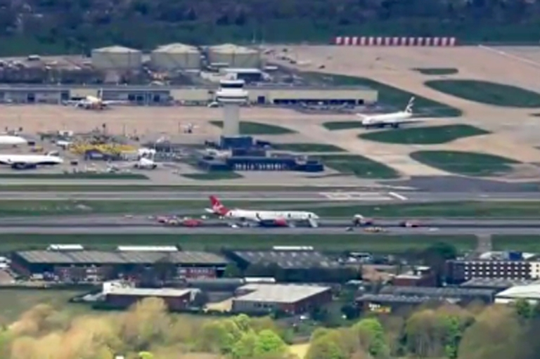 <p>Virgin Atlantic Flight VS27 is seen here in a still image taken from BBC coverage of the emergency landing today.</p>