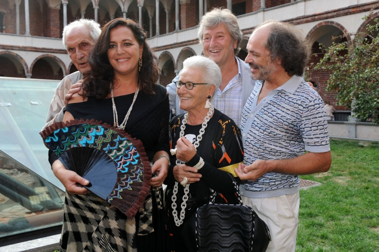 <p>From left, Angela, Ottavio, Rosita, Vittorio and Luca Missoni attend the Missoni fashion show during Milan fashion week on September 25, 2011, in Italy.</p>