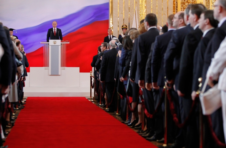 <p>Russia's president-elect Vladimir Putin takes his oath of office in Moscow's Kremlin, on May 7, 2012.</p>
