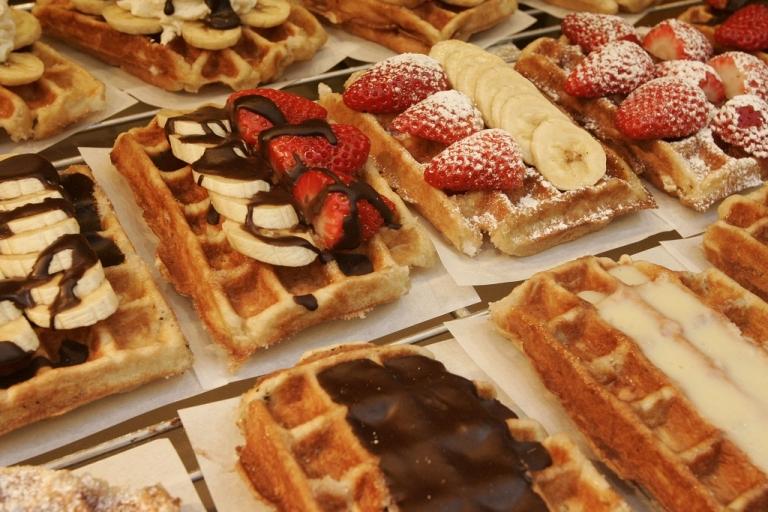 <p>Belgian waffles are seen near la Grande Place on February 19, 2008 in Brussels, Belgium.</p>