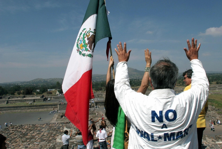 <p>A protest against a planned Wal-Mart is seen Teotihuacan, Mexico State, in October, 2004.</p>