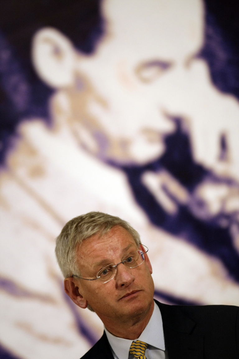 <p>Swedish Foreign Minister Carl Bildt delivers a speech during the opening ceremony of the exhibition of Raoul Wallenberg at the Hungarian National Museum in Budapest on Tuesday.</p>