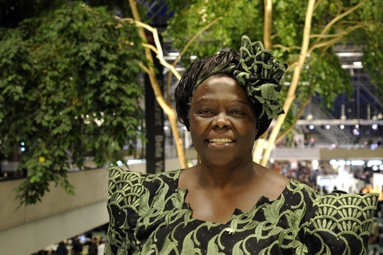 <p>Nobel Peace Prize Laureate, Kenyan professor Wangari Maathai at the Bella Center in Copenhagen on December 15, 2009 at the United Nations Climate Change Conference.</p>
