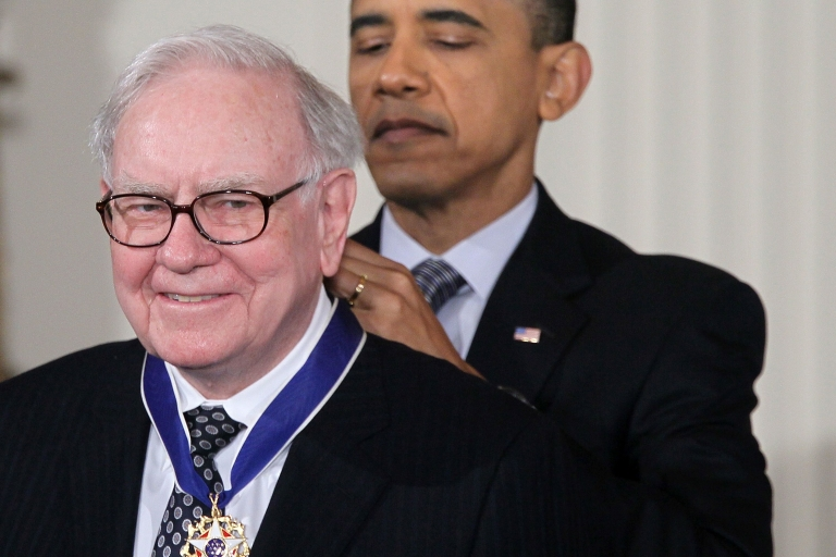 <p>President Barack Obama presents Berkshire Hathaway chairman Warren Buffett with the 2010 Medal of Freedom at the White House Feb. 15, 2011. The medal is the highest honor awarded to U.S. civilians.</p>