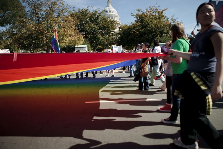 <p>Gay rights supporters march in Washington, DC, on Oct. 11, 2009.</p>