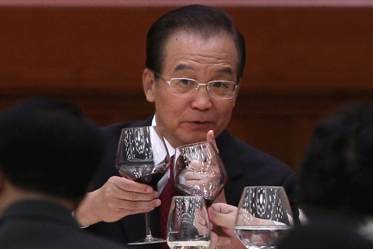 <p>Chinese Prime Minister Wen Jiabao attends the banquet marking the 63th anniversary of the founding of the People's Republic of China on September 29, 2012 at the Great Hall of the People in Beijing, China.</p>