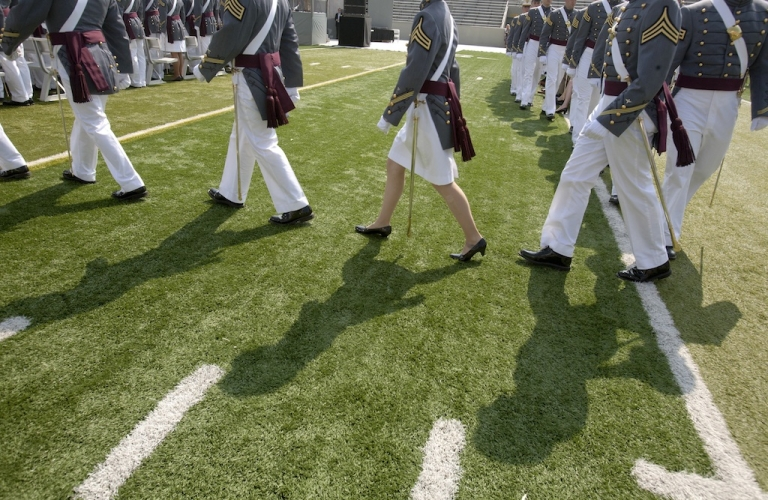 <p>Cadets of The United States Military Academy walk to their seats for a graduation and commissioning ceremony May 26, 2012 in West Point, New York. US Vice President Joe Biden addressed the approximately 1,000 members of the Class of 2012 who received Bachelor of Science degrees and be commissioned as second lieutenants in the US Army.</p>