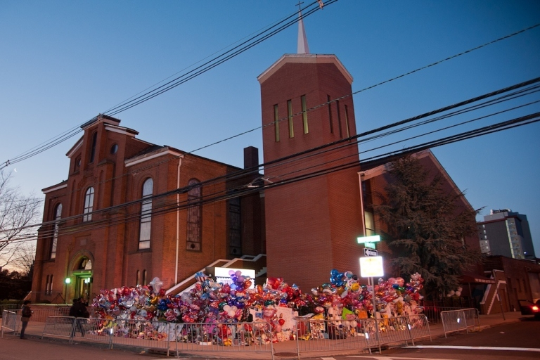 <p>A makeshift memorial outside the funeral services for Whitney Houston at the New Hope Baptist Church on February 18, 2012 in Newark, New Jersey. Whitney Houston was found dead in her hotel room at The Beverly Hilton hotel on February 11, 2012.</p>