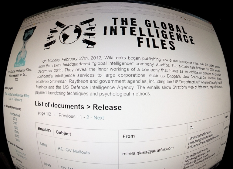 <p>This February 27, 2012 photo shows a screen from the Internet site Wikileaks. Wikileaks, which triggered an earthquake in 2010 in world diplomacy, said Monday it has begun the publication of more than five million emails to the American private intelligence and Stratfor strategic Analysis. Electronic messages, which spread from July 2004 to December 2011, reveal employment by Stratfor 'networks of informants, payment structures of bribes, wine, money laundering techniques and methods of psychological 'said a statement from Wikileaks. 'The documents show how a private company working in information and how it targets individuals for their private and government customers,' the statement added.</p>