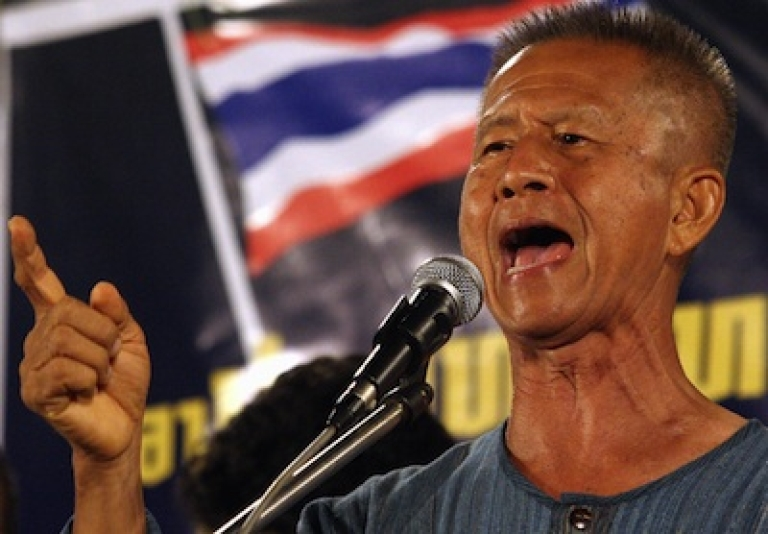 <p>Former Bangkok governor Chamlong Srimuang leading a 2006 protest. The co-leader of Thailand's nationalist