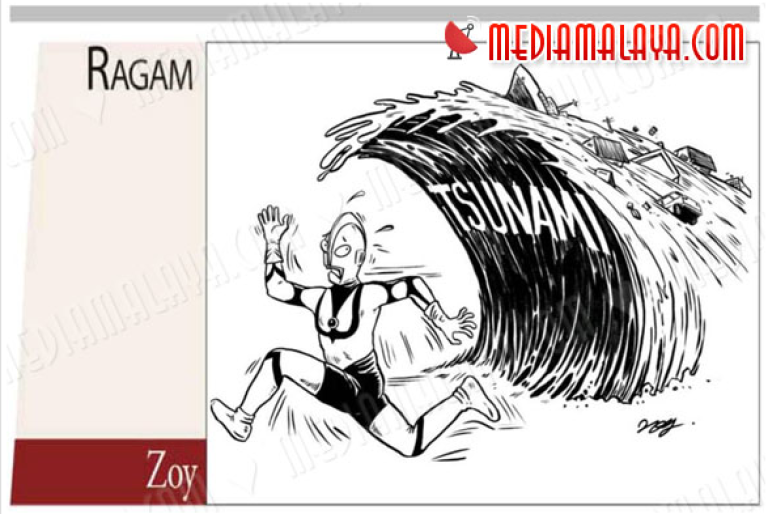 <p>A scan of a cartoon mocking Japan's March tsunami in Berita Harian, one of Malaysia's largest newspapers,</p>
