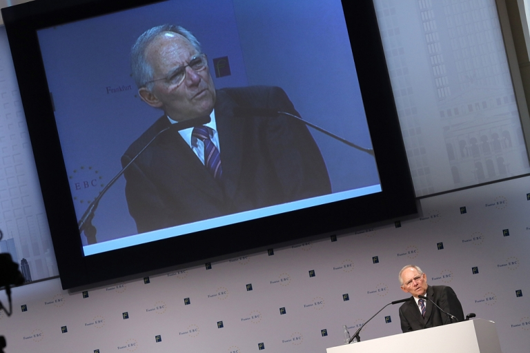 <p>Wolfgang Schaeuble, minister of finance of Germany, attends the European Banking Congress on Nov. 23, 2012 in Frankfurt.</p>
