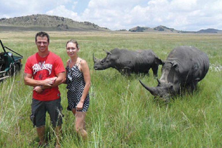 <p>Chantal Beyer, 24, is pictured with her boyfriend moments before being gored by one of these rhinos in a South African game park.</p>
