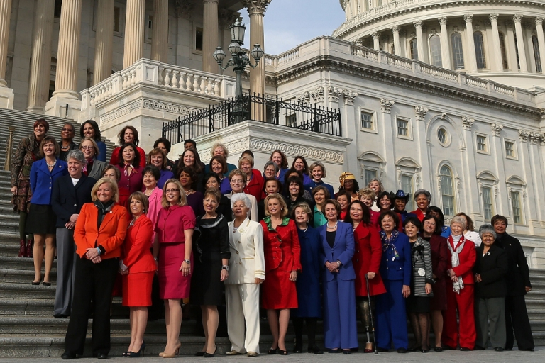 <p>The House Democratic Caucus shows off its gains in diversity Jan. 3, 2013 in Washington, D.C. This stands in stark contrast to the paltry gains House Republican Caucus.</p>
