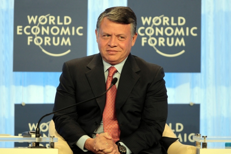 <p>Jordan's King Abdullah inaugurates the World Economic Forum (WEF) annual meeting by the Dead Sea on Oct. 22, 2011.</p>