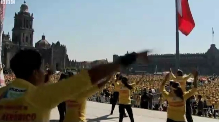 <p>Mexico City's zumba fanatics broke the world record for the largest class, with 6,633 participants dancing in Zócalo Square on the International Day of Physical Activity on March 26, 2012.</p>