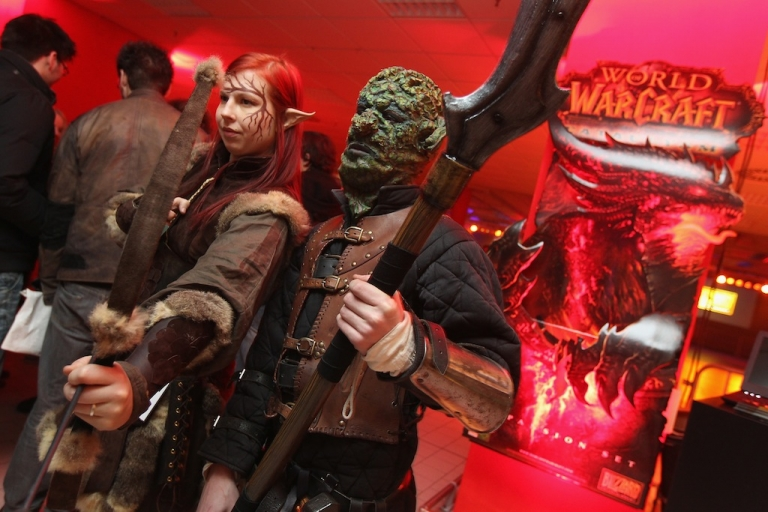 <p>Employees of an event company dressed as 'World of Warcraft' characters pose at the global sales premiere kick off of the new 'World of Warcraft: Cataclysm' game shortly before midnight at MediaMarkt on Dec. 6, 2010 in Berlin, Germany.</p>
